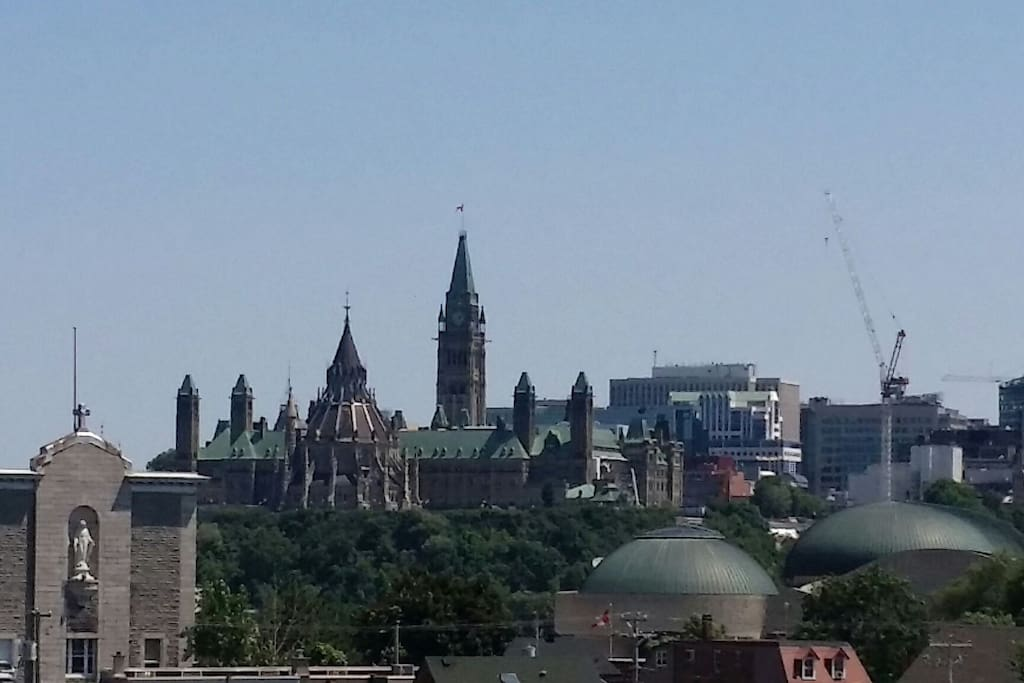 Parliament Buildings are in front of you - this picture from our balcony in the distance