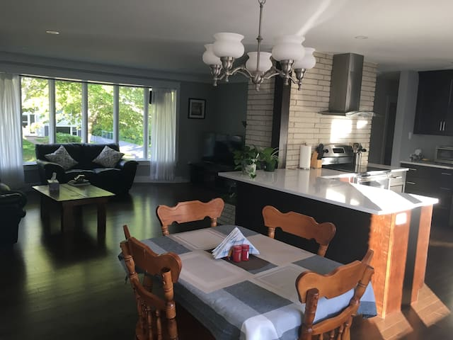 Kitchen table and living area (shared space)