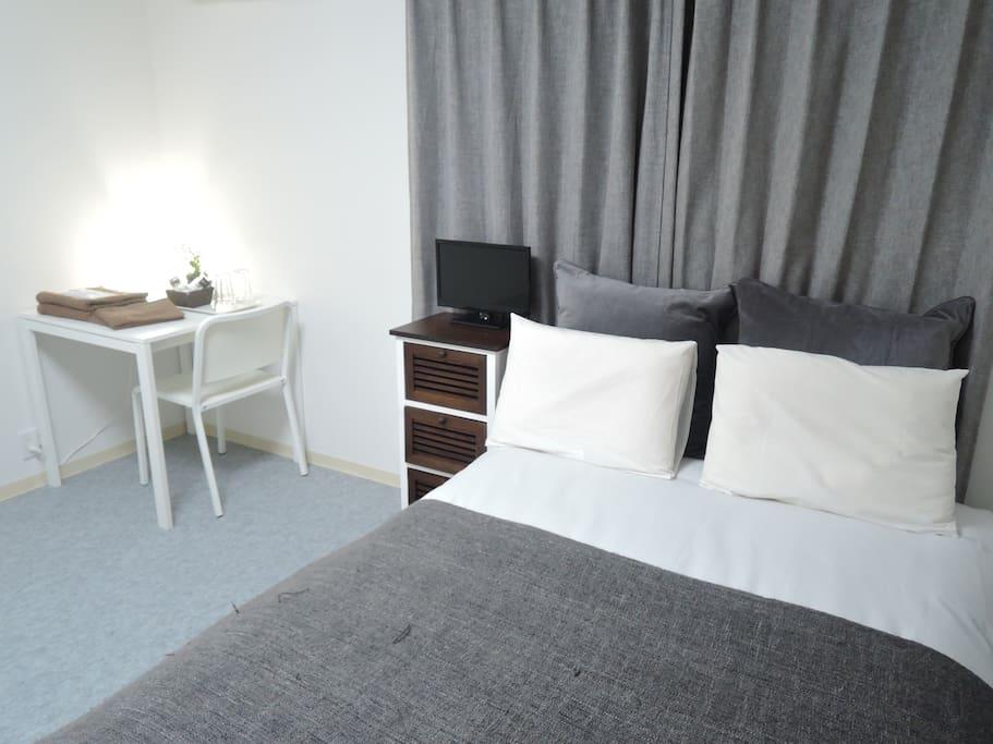 ゆったりとしたダブルベット!! Double bed and spacious! ! 넓은 더블 침대! !