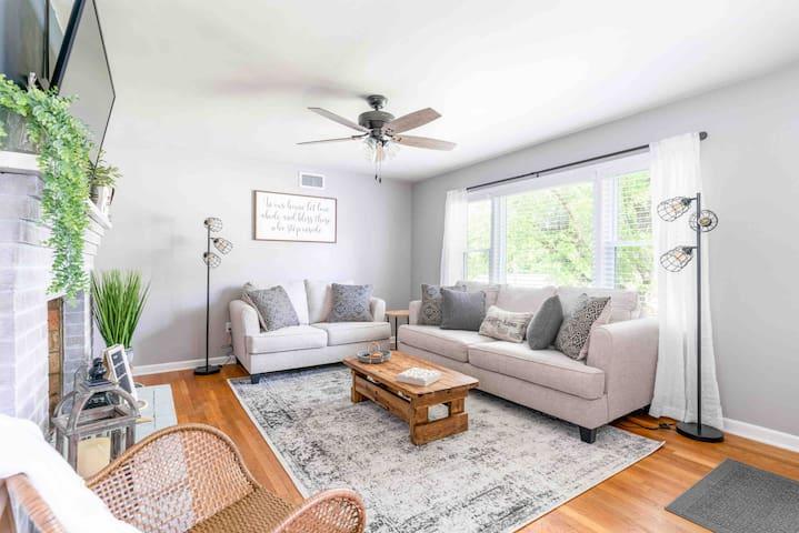 Living room with sofa bed (Queen memory foam mattress)