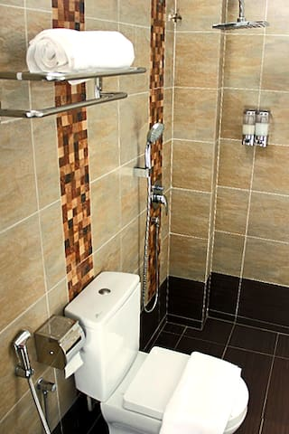 Facilities in the bathroom: Pressurized rain shower, provided with hot/cold shower and shampoo, Toilet bowl & toilet paper, Sink & mirror