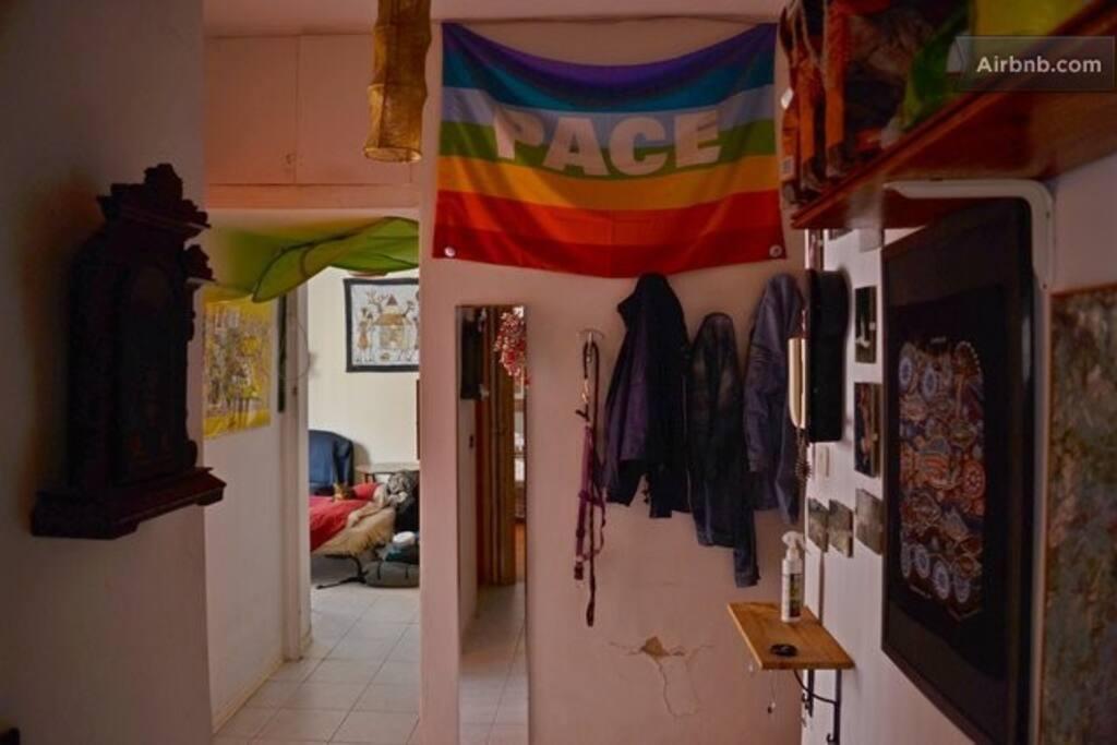 the hallway with the peace flag!