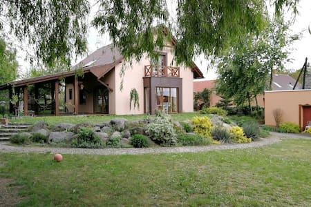 Pokoje w domu z widokiem na ogród i sad