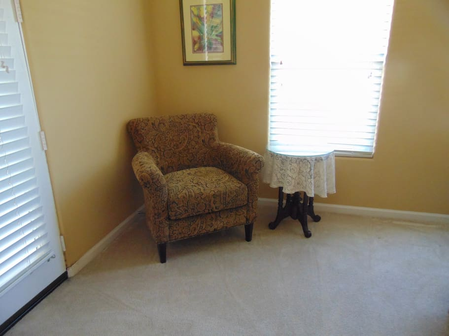 Comfy chair and side table when you just want to read your book.
