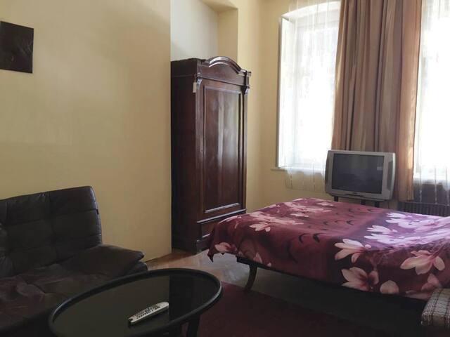 Наш guest находится в центре Тбилиси, около метро марджанишвили, рядом знаменитая fabrika_tbilisi . В комнате большая двухспальная  кровать , 2х спальный диван, плательный  шкаф, стол . Кухня Санузел + душ