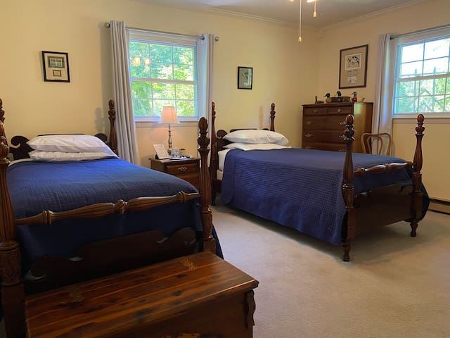 Bedroom with two twin mattresses