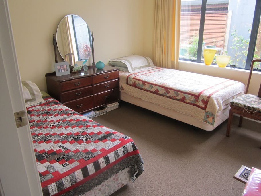 Our twin bedroom with its nice outlook into our back garden.