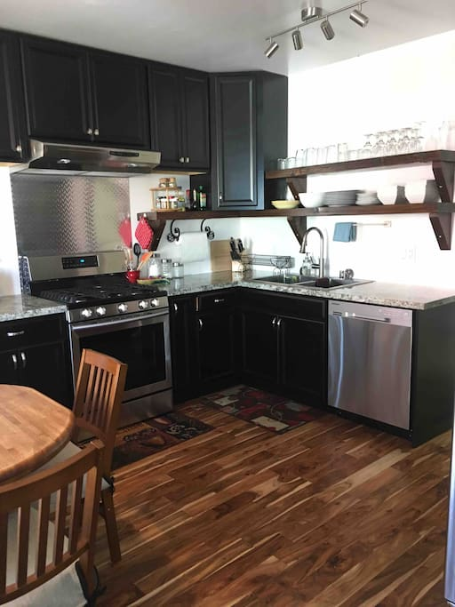 Kitchen with all new stainless appliances.