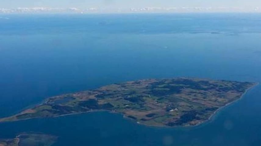 Aerial view from northwest to southwest above Helgenæs peninsula.