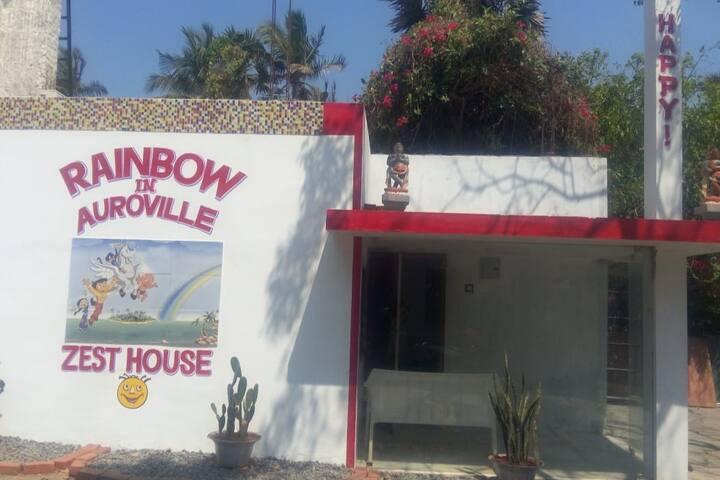 Rainbow in Auroville beach guest house