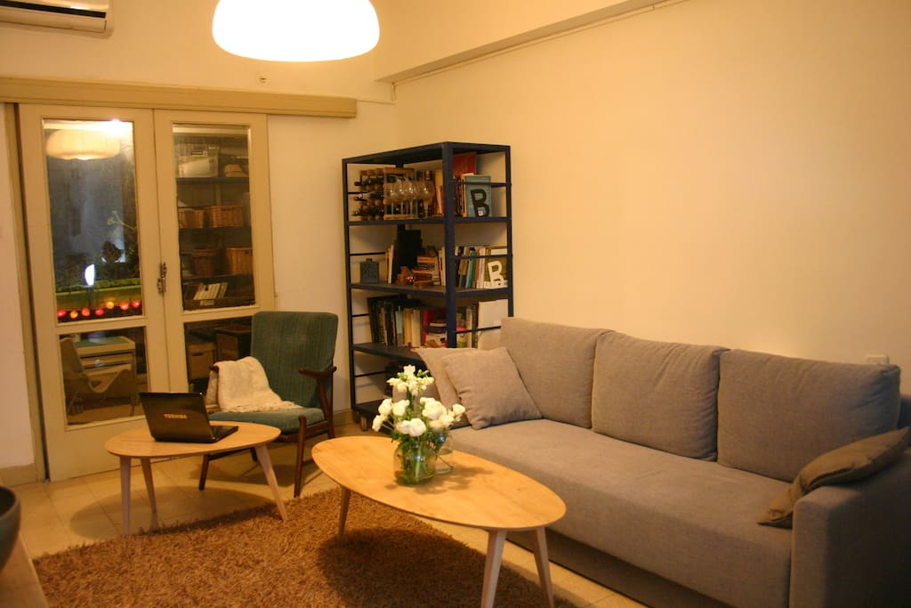 Spacious living room with a comfortable double-sofa bed, TV speekers.