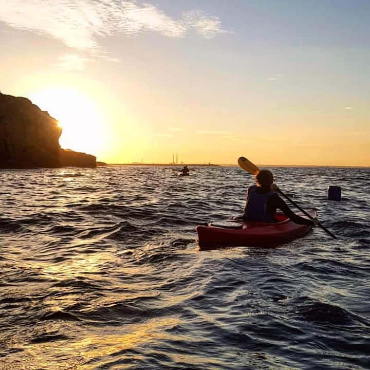 Kayaking in the evening sun