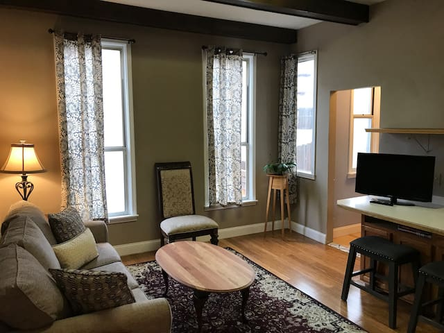 Living room, view from bathroom entryway