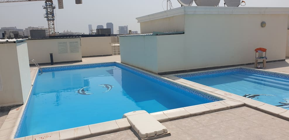 Private room with pool access