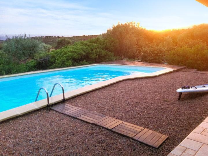 Villa de 4 habitaciones en Sagone, con magnificas vistas al mar, piscina privada, jardín cerrado - a 1 km de la playa