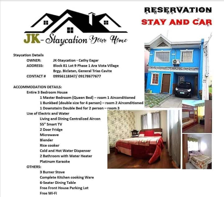 JK-Staycation,3 BR  Eagle ridge,Gateway & Tagaytay