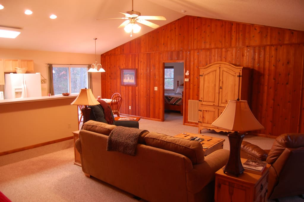 Family Room with beautiful wood. Television, DVD and Blu-ray Player in Armoire