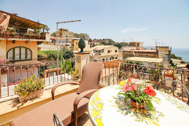 Taormina Center  - Sea view from amazing terrace!