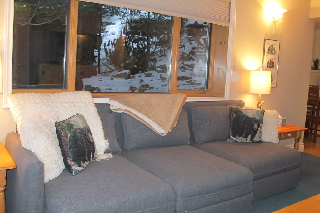 The two left hand pieces of this sofa are pull out side by side twin beds.