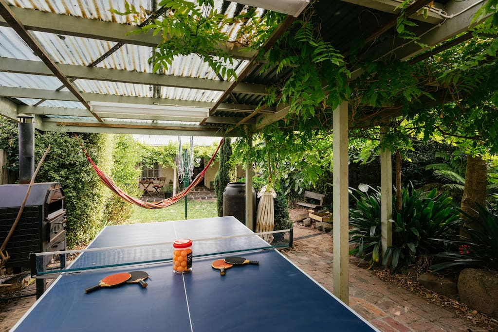 Ping pong table and hammocks