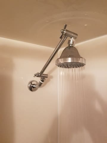 Nice new extendable rain shower head! Great water pressure!