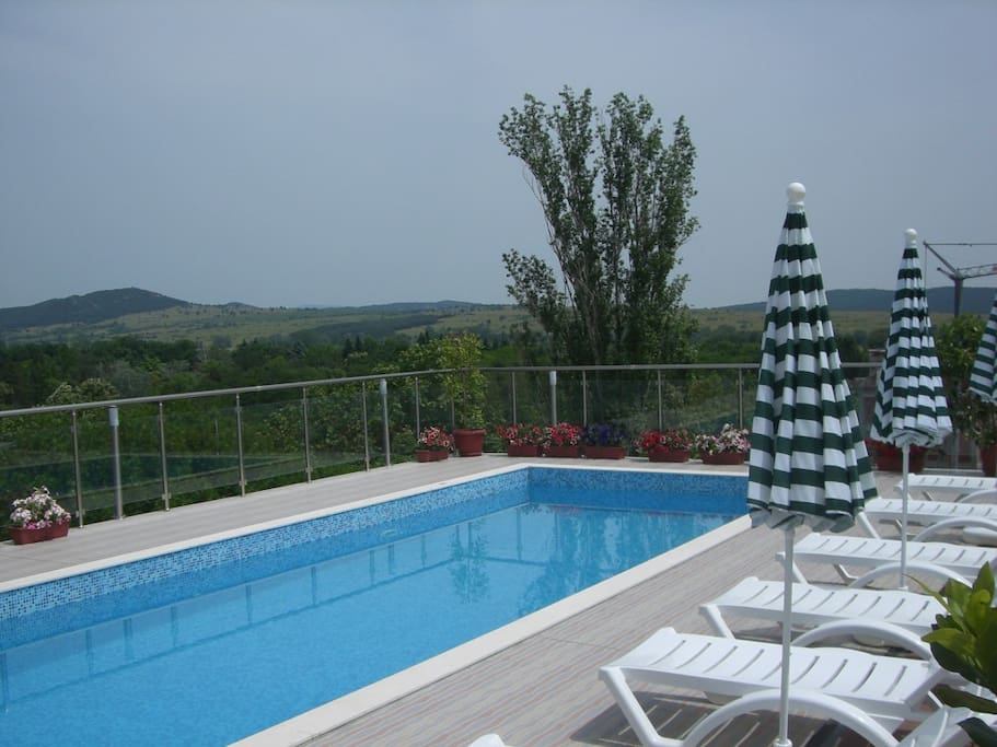 The swimming pool 10.5/3.5m with mineral water