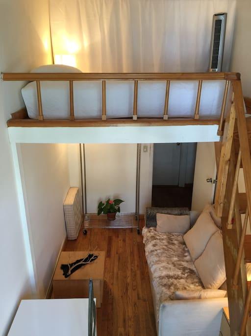 both levels of room with door open