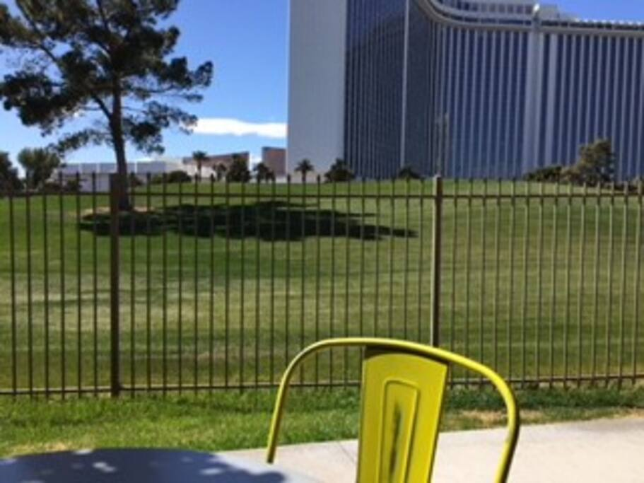 View from patio the golf course and Las Vegas History: the hotel where Elvis Presley use to perform back in the '70's. '69 - International Hotel, '71 - Hilton Hotel, now called the Westgate Resorts.