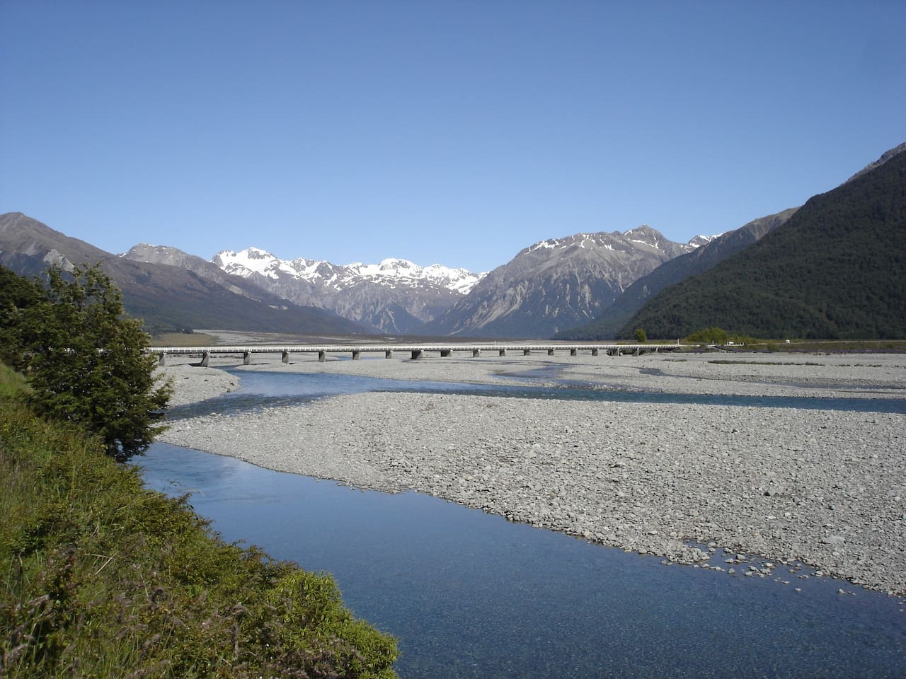 The Southern Alps and Waimakariri River from Bealey