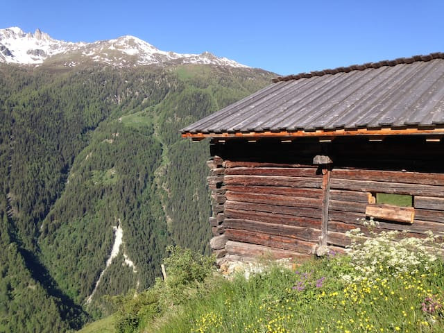 Old barn Saralex, Val d'Herens 1600 m Valais Alps