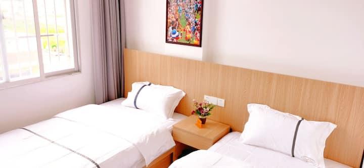悠然庭院民宿舒适双床房