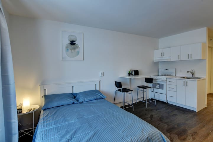 Spacious studio in Laval, place bell, free parking
