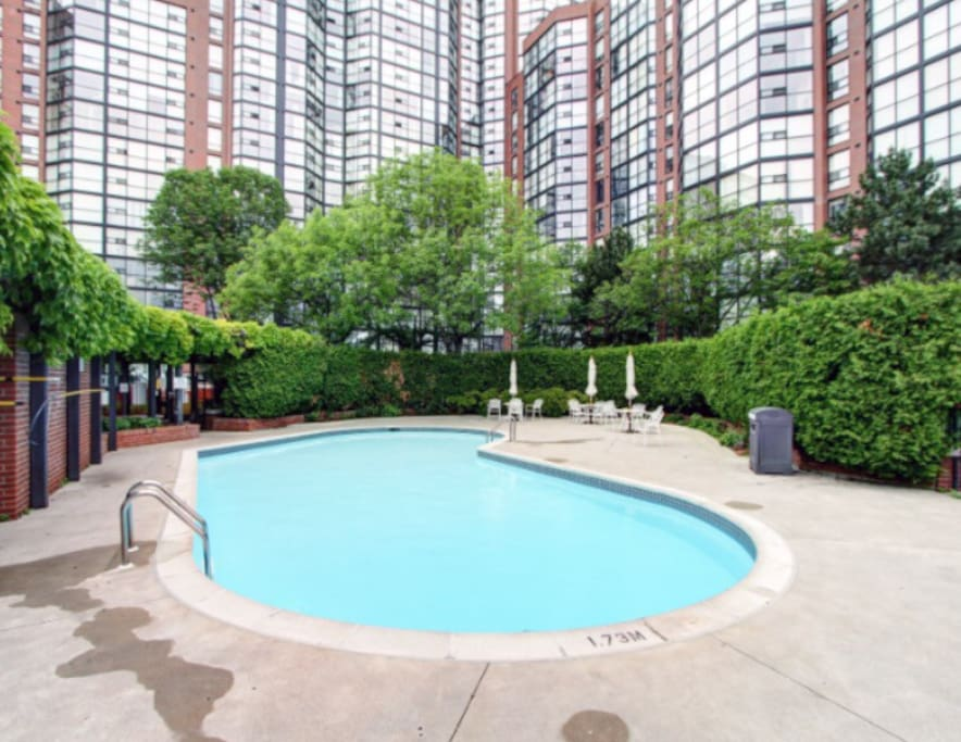 Outdoor pool. Adult swim from 1pm-3pm everyday.