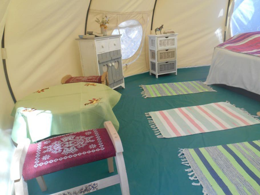interior of the tent With one queen size bed