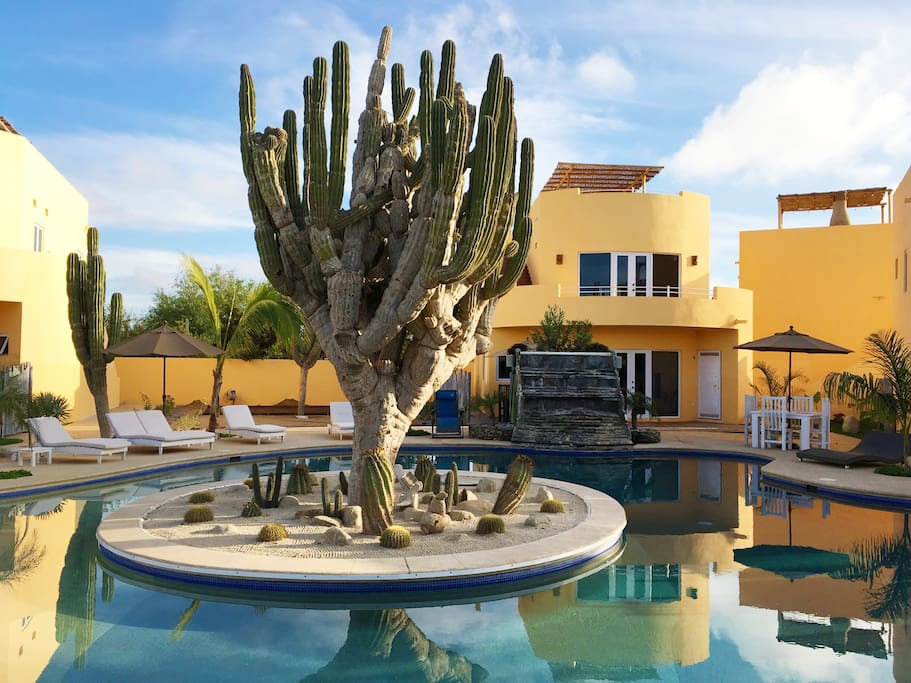Casa Baja Bonita is located on the second floor of the condo unit behind the pool waterfall.