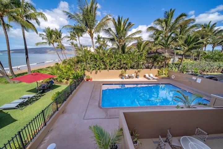 Nani Kai Hale #208 is a beachfront/ocean-view unit.  Awesome Ocean-view!
