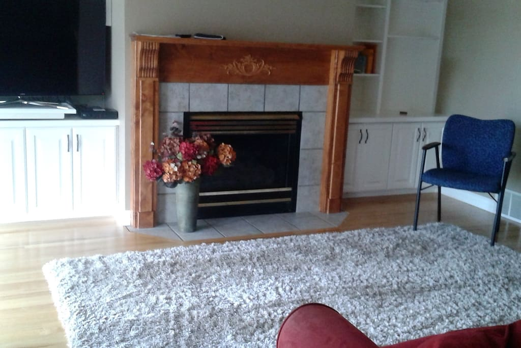 living room with fireplace and large screen TV with DIRECTTV