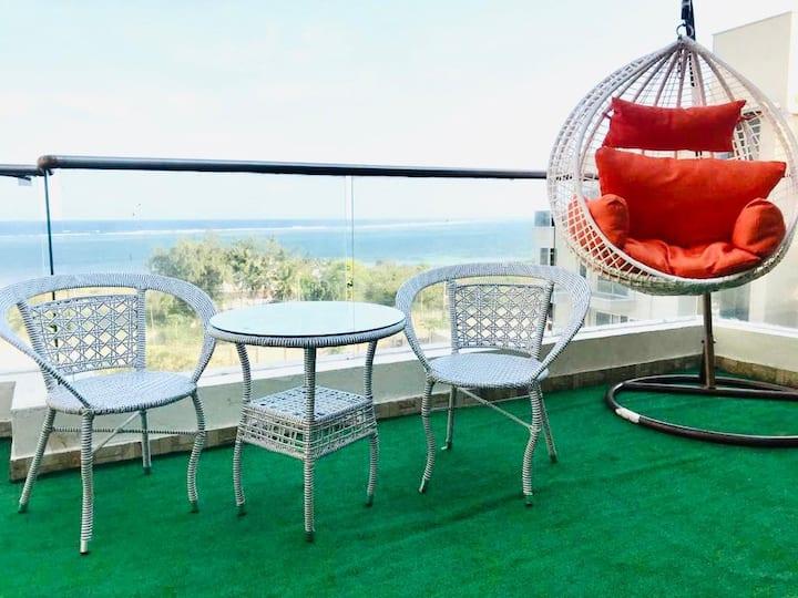 Nyali Beach view Penthouse 2BR + DSQ