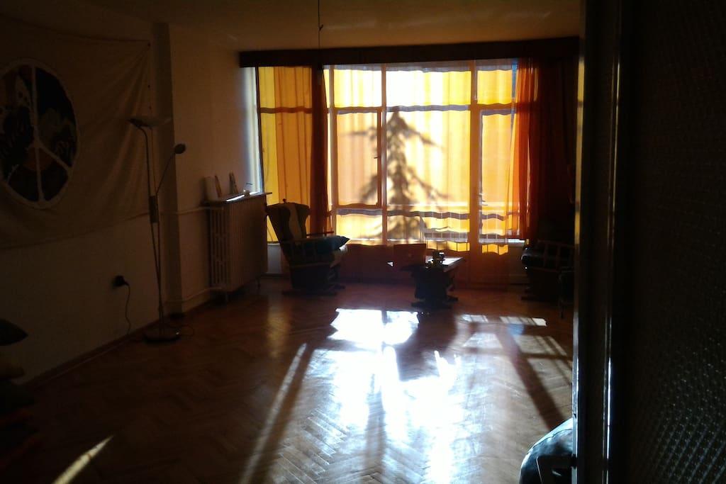 the lounge, also yoga studio.