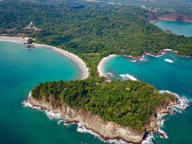 Just 5 minutes away from Manuel Antonio National, a lively resort town where a rain forest teeming with monkeys resides.