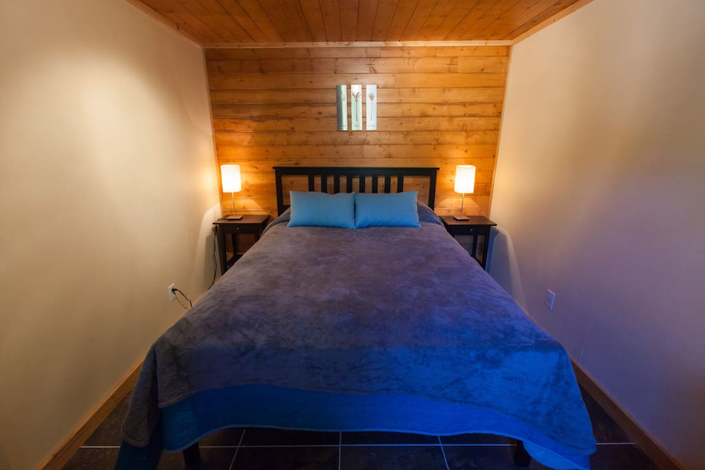private bedroom with Queen bed, pillows and linens
