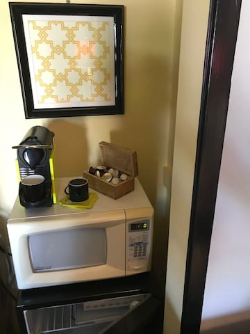 refrigerator, microwave, complimentary Nespresso Coffee and Teas selections