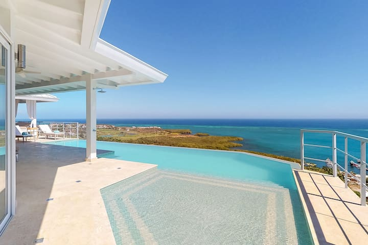 NEW LISTING! Incredible sea views w/ private pool & deck - walk to the beach!