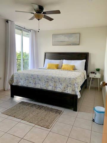 Extremely comfortable master suite with King Bed.  AC, ceiling fan and full bathroom.