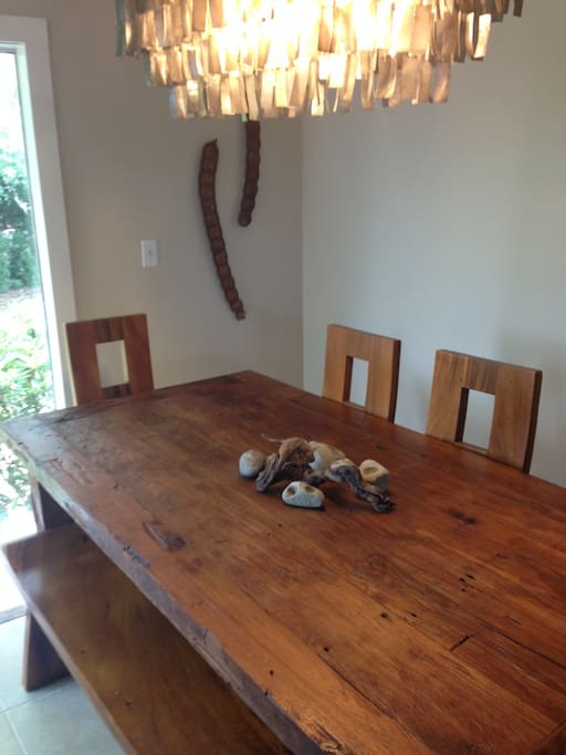 Dining room with table of antique teak