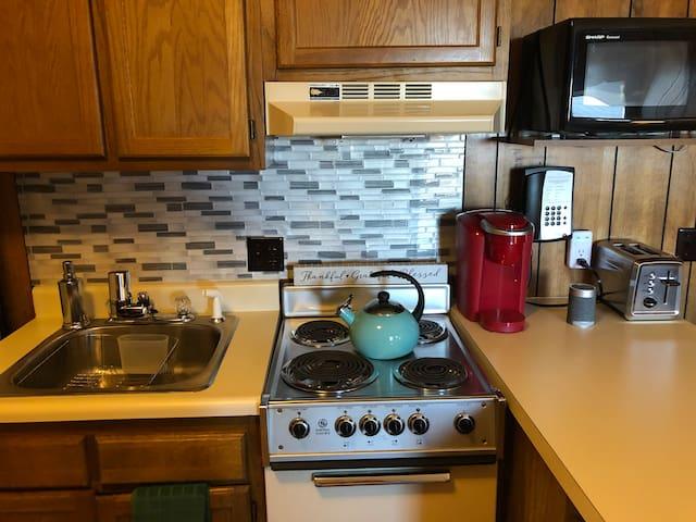 Kitchen amenities: Brand-new tea kettle, brand-new Keurig, Brand-new toaster, Brand-new water filter, wireless speaker, & microwave.
