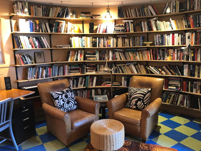 Cozy living area with good light for reading