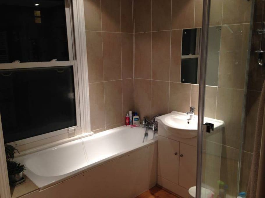 Bath, shower, cupboard space and a washer/dryer