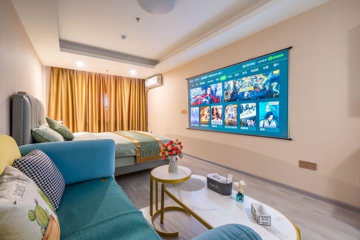 未来城【豪华公寓】100寸VIP巨屏4K投影.近•万达广场/安东老街/鸭绿江边/站前高铁站/全屋消毒