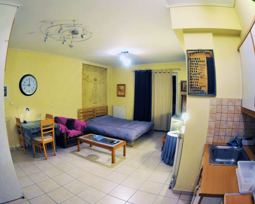 Wide angle evening view of this nice clean furnished,  internet ready unit